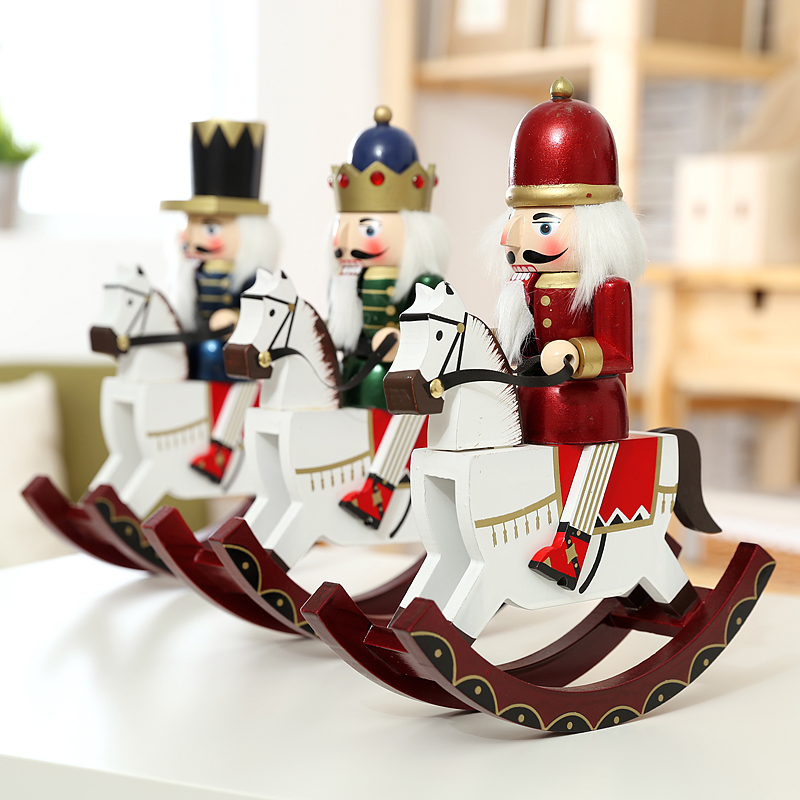 new 30cm high christmas holiday nutcracker rocking horse vintage german wooden table walnut toy zakka dolls in figurines miniatures from home garden on