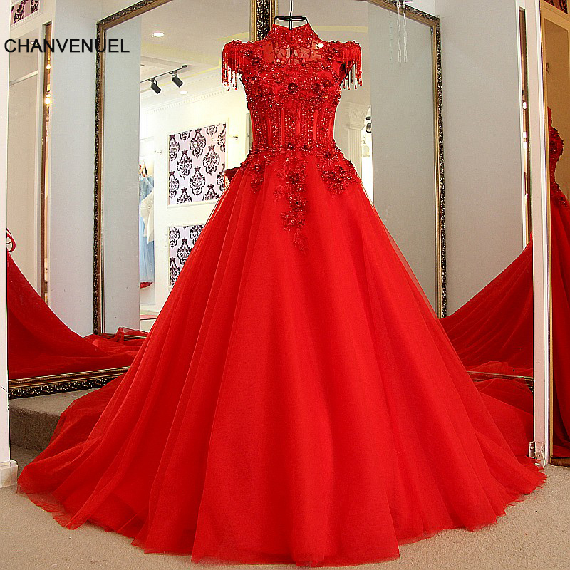 726f57d2d754 LS87003 Red party gowns designs lace up back cap sleeves high neck A line  beaded long formal evening dress real photo