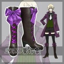 New Anime Black Butler II Kuroshitsuji Alois Trancy Cosplay Boots w/Bowknot Zipper Back Cosplay Shoes for Women/Men Size 35-41 цены онлайн