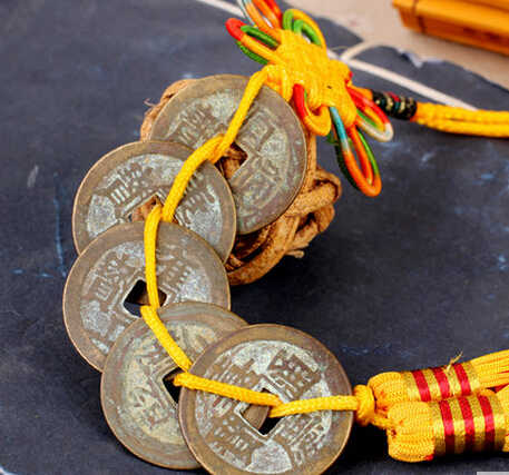 SCY  326+++The money Chinese lucky knot pendant antique coins coin money Qianlong reign.