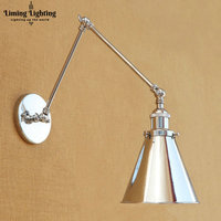 Silver Antique Retro Vintage Wall Light LED Edison Loft Industrial Swing Long Arm Wall Lamp Sconce Luminaire Arandela
