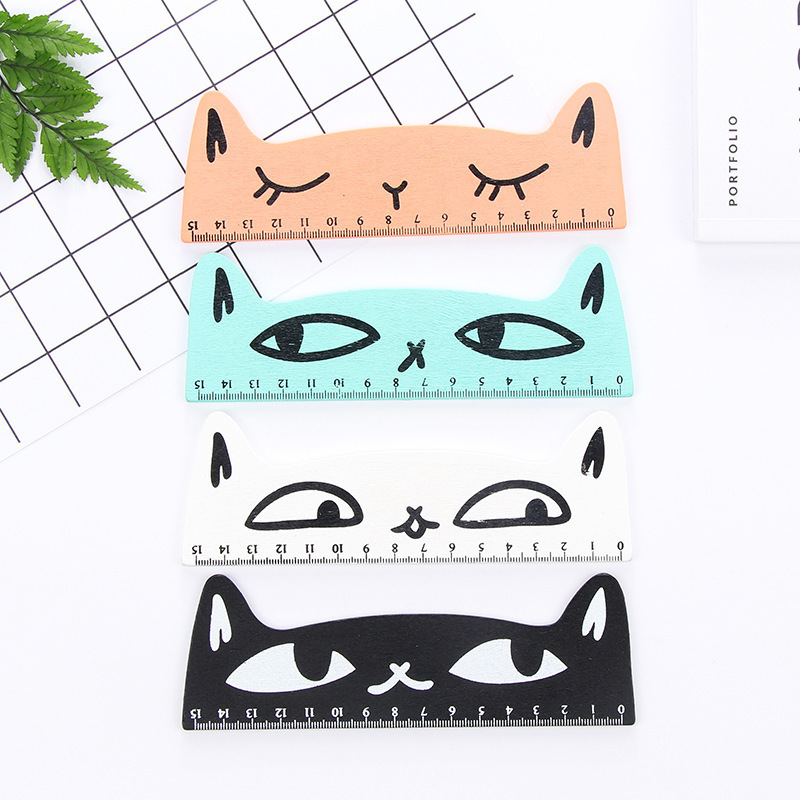 1 PCS Cartoon Kawaii Cute Cat Modeling Wooden Ruler Student Ruler Prizes Korea Creative Stationery School Supplies