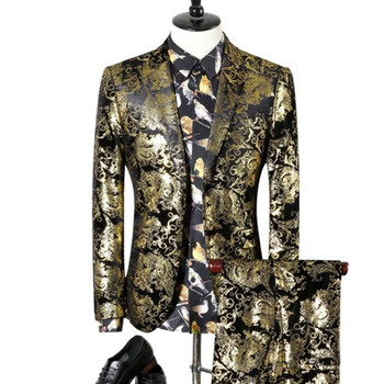 2 Pieces Sets Blazers Jacket Pants Suits / 2018 Fashion New Men's Boutique Gold Pattern Business Suit Coat Trousers