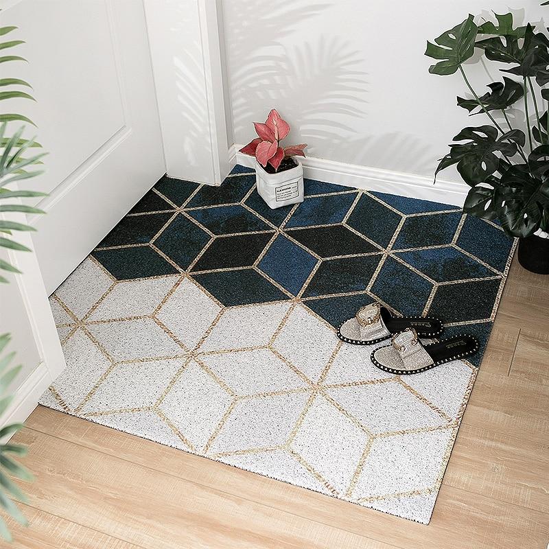 Nordic Style Entrance Hall Carpet PVC Wire Loop Mat INS Creative Geometry Door Mat Living Room Floor Mat Bathroom Non-slip Rug