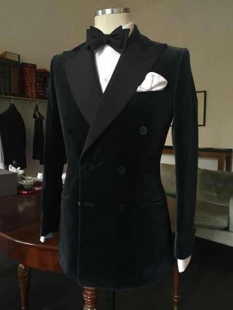 TPSAADE 黒ベルベットメンズスーツディナーボールカジュアルスーツ新郎タキシード花婿の付添人の結婚式のためのメンズ革製ジャケットやつ