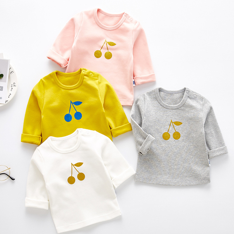 Baby Girls T Shirts Brand Autumn Cute Cherry Print Cotton Long Sleeve Kids T Shirt Casual Tops Princess Children's Clothing 1 7y baby kids girls cute deer long sleeve cotton polka dots top dress t shirt