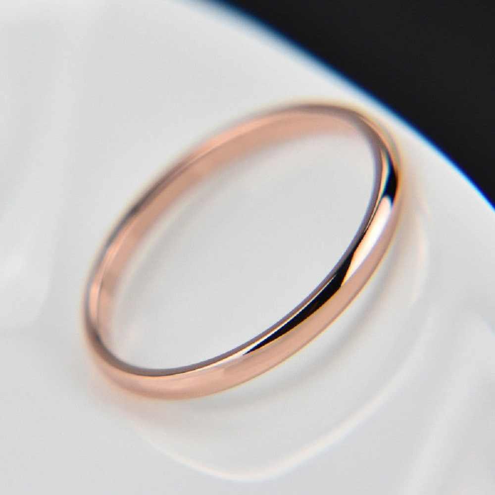 Professionnel titane acier Rose or lisse Simple mariage Couples anneaux Bijouterie pour homme ou femme saint valentin cadeau