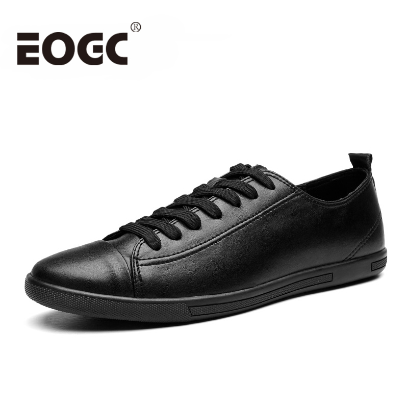 Winter Men Loafers Size 38-47 Men's Leather Casual Shoes Autumn Genuine Leather Men Shoes Lace-Up Men Flats Fashion Black Shoes