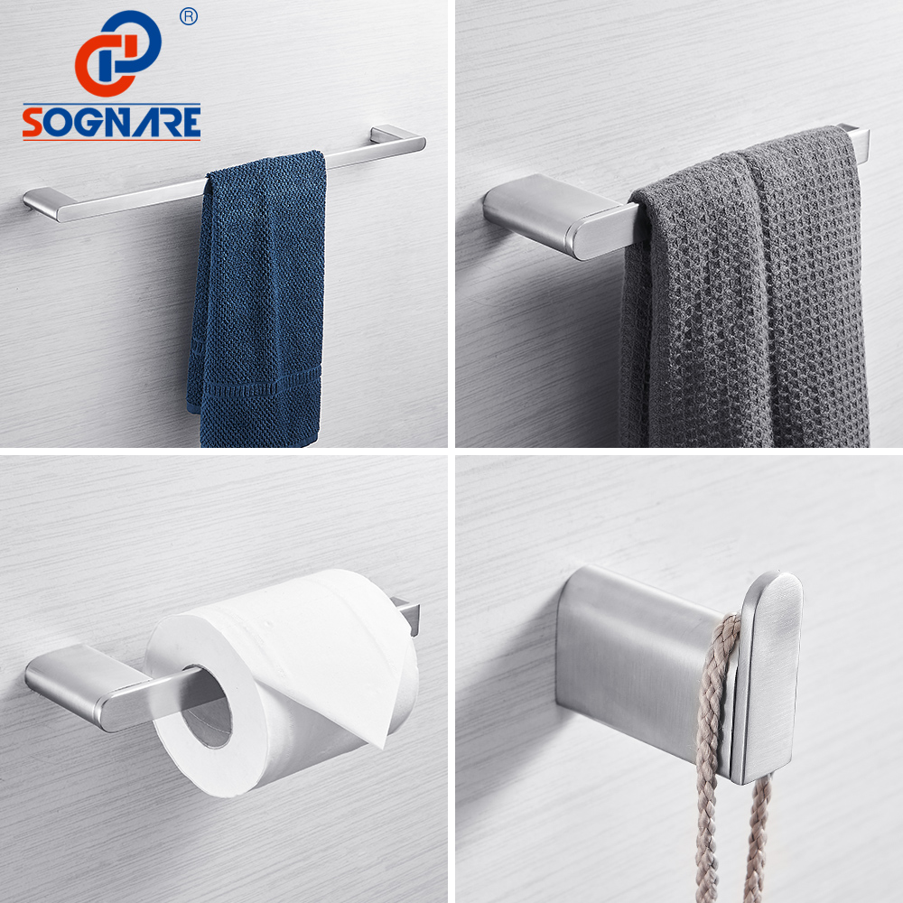 SOGNARE 304 Stainless Steel Bathroom Accessories Set Single Towel Bar, Robe Hook, Paper Holder Bath Hardware Sets Nickel Brushed leyden sus 304 stainless steel bathroom hardware set brushed nickel paper holder towel bar robe hook bathroom accessories bath