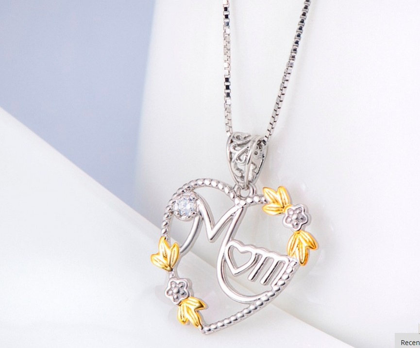 925 Sterling Silver Heart MOM Pendant Long Chain Statement Choker Necklace for Women Fashion Jewelry Best Mother's Day Gift 2019 3