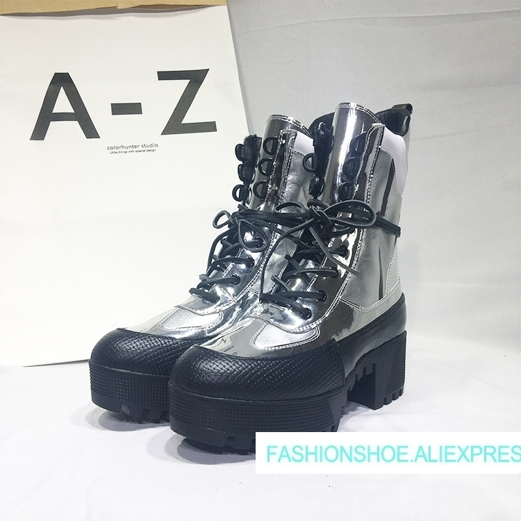2018 Hot Autumn Winter Shoes Woman Platform Lace Up Square Heels Leather Boots Designer Woman Silver Tide Superstar Knight Boots цена