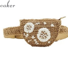 цена на Caker Brand 2019 Women Half circle Straw Waist Bag Embroidery Flower Waist Pack Wholesale Drop Shipping