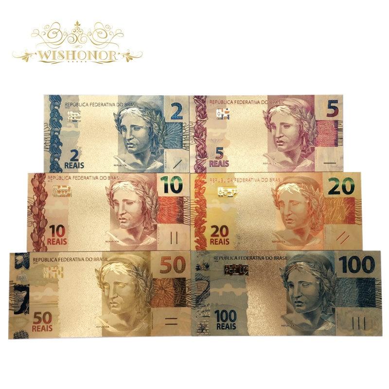 6Pcs/Set COLOR GOLD BRAZIL 2-50 REALS BANKNOTE NormalT GOLD BANK NOTE LIMITED