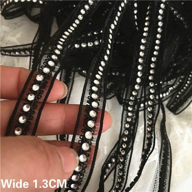 1,3 см ширина, стильные белые и черные блестки, бисер ручной работы, кружевной воротник, отделка по краю ленты, юбка с аппликацией, комбинированный декор для шитья «сделай сам»