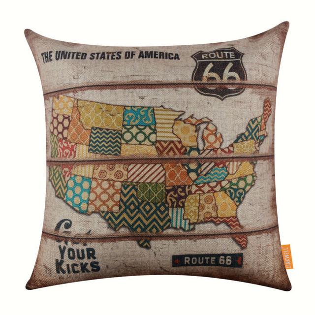 Linkwell Vintage Pillowcase Burlap Cushion Cover 45x45cm Route 66