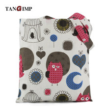 TANGIMP Women Handbags Owls Moon Love Heart Bird Cage Cotton Beach Bags Cute Eco bolsa compra sac cabas Shopping Shoulder Tote(China)