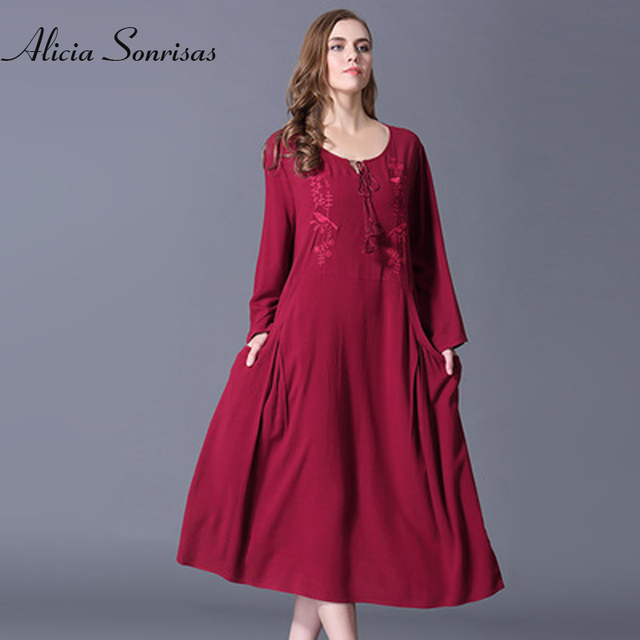 new year red versatile large size womens cotton embroidery round neck long dress cross border