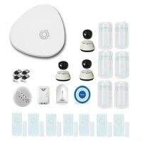 Smartyiba kit sistema de alarme sem fio wi fi sms discagem automática casa inteligente sistema alarme segurança com controle remoto ip câmera hd|Kits de sistema de alarme| |  -