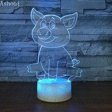 Cute Cartoon 3D Talbe Lamp Moana Pet Pig Pua LED Night Light Anime 7 Color Changing Touch Nightlight Decor Toy Kids Gift