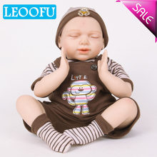 LEOOFU 55cm 22 inch play house toys silicone reborn baby dolls vinyl toys big toy for girls 3-7 years old baby dolls with cloth(China)