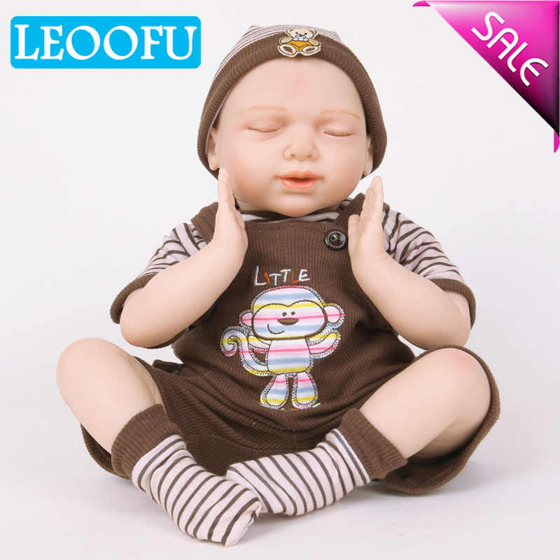 LEOOFU 55cm 22 inch play house toys silicone reborn baby dolls vinyl toys big toy for girls 3-7 years old baby dolls with cloth