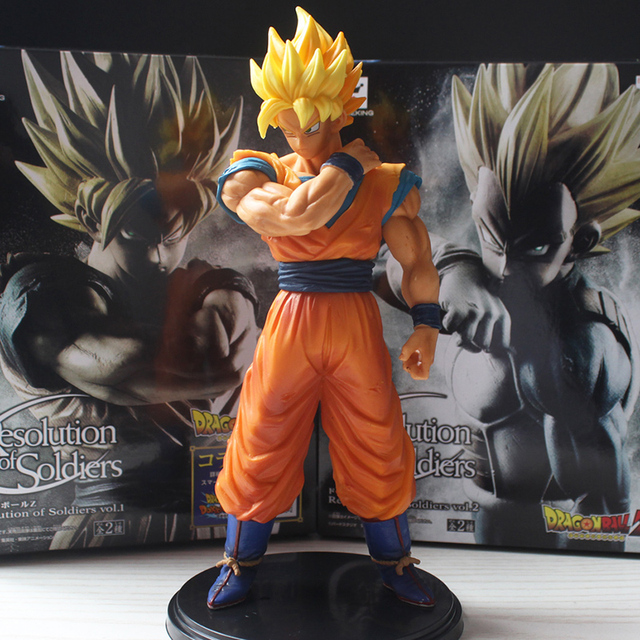 Anime Dragon Ball Z Figure Resolution Of Soldiers ROS Super SaiYan Son Goku PVC Model Toy