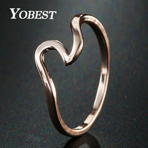 YOBEST 2018 NEW Rose Gold Color Wave Ring Wedding Ring For Women Jewelry Accessories Engagement Ring Women Dress Party Gifts