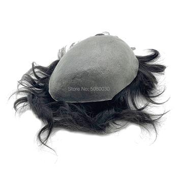 Pełna PU najcieńszy skóry POLY v-pętli węzeł grubość 0 02 ~ 0 04mm męskie peruki peruka włosy indyjskie remy hair każda fala kolor magazynie tanie i dobre opinie HRF Toupee 6 miesięcy = 60 Remy włosy V pętli 40mm 8*10inch Indyjski włosy thinnest skin base 0 02~0 04mm