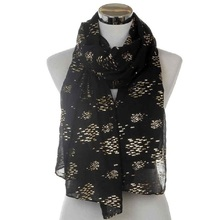 WINFOX 2018 New Fashion Women Black White Foil Gold Fish Long Scarf For Ladies