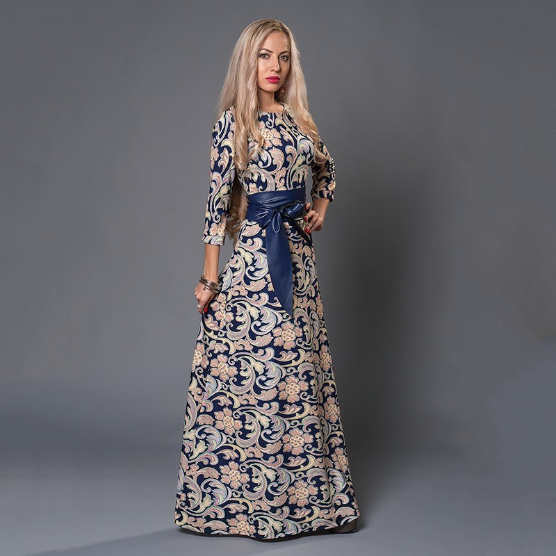 8c9ce88051f0 New Ladies Casual Spring Summer Long Bohemian Print Maxi Dress For ...