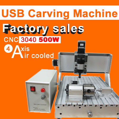 CNC 3040 4axis 500w engraving machine  air cooling carving machine trapezoidall screw cutting machine 2017 hot sale model 5 axis cnc engraving