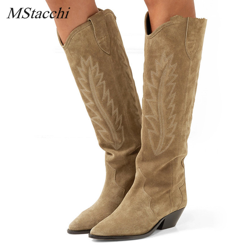 MStacchi nu daim noir brodé genou bottes hautes femmes pointu orteil pointe chaton talons hiver bottes longues chaussures plates chevalier bottes