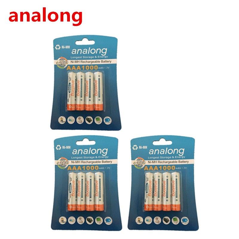 Analong 1000 В AAA 3A NIMH 1,2 мАч AAA Батарея перезаряжаемые aaa Batteria Ni-MH батареи Батарея перезаряжаемые