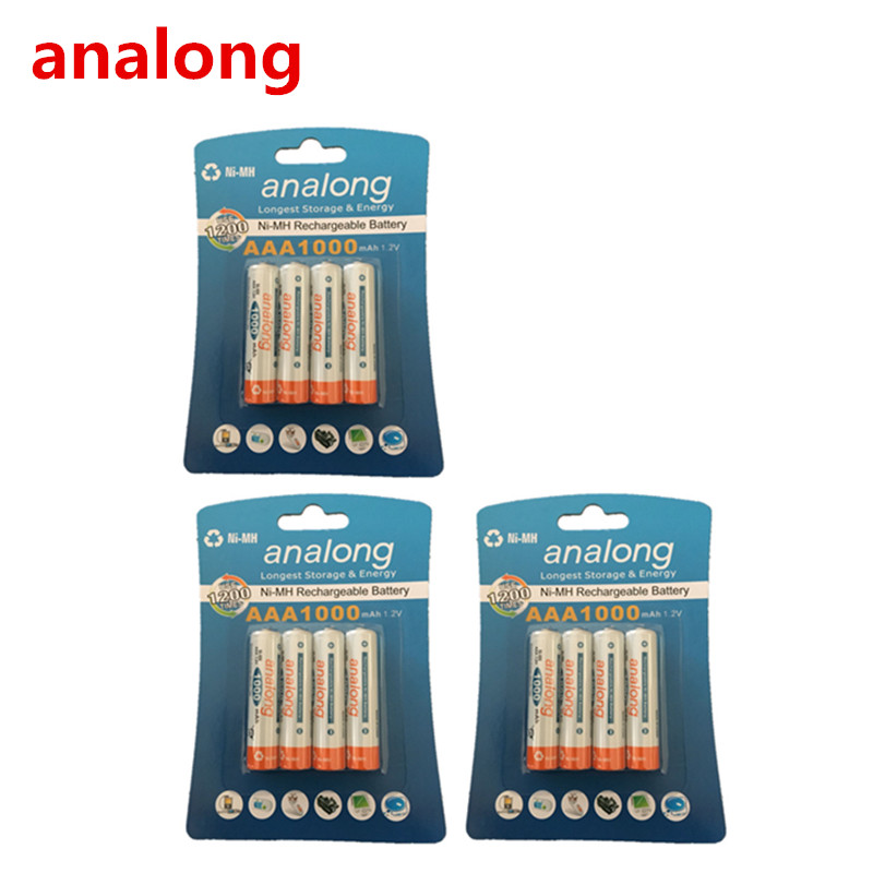 Analong 1.2 В AAA 3A NiMH 1000 мАч AAA Батарея Перезаряжаемые AAA Batteria Ni-MH аккумуляторы Батарея Перезаряжаемые