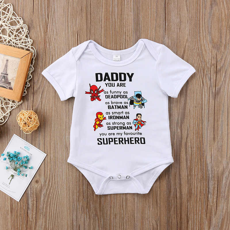 40662bfc5 ... 0-18M Infant Newborn Baby Superhero Clothes Short Sleeve Cartoon Romper  Jumpsuit Outfits Baby Clothing ...