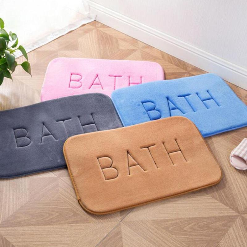 1pc Non Slip Bathroom Rug 4 Solid Colors Home Coral Velvet Memory