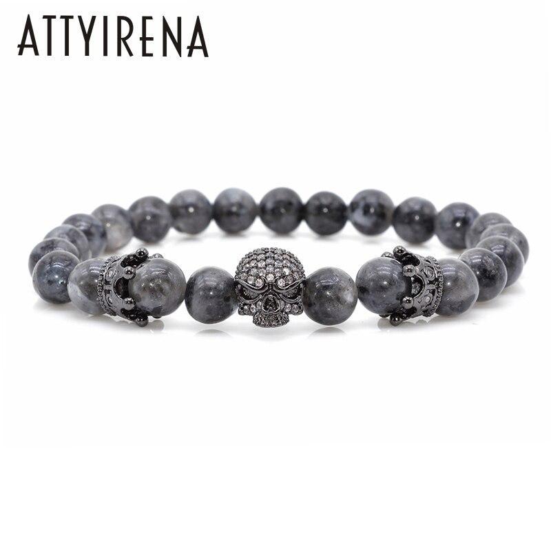 Männer CZ Schädel Charme Armbänder Indien Labradorit 8mm Natürliche Stein Licht Perlen Europäischen Buddha Armband Für Männer Handgemachte Armbänder