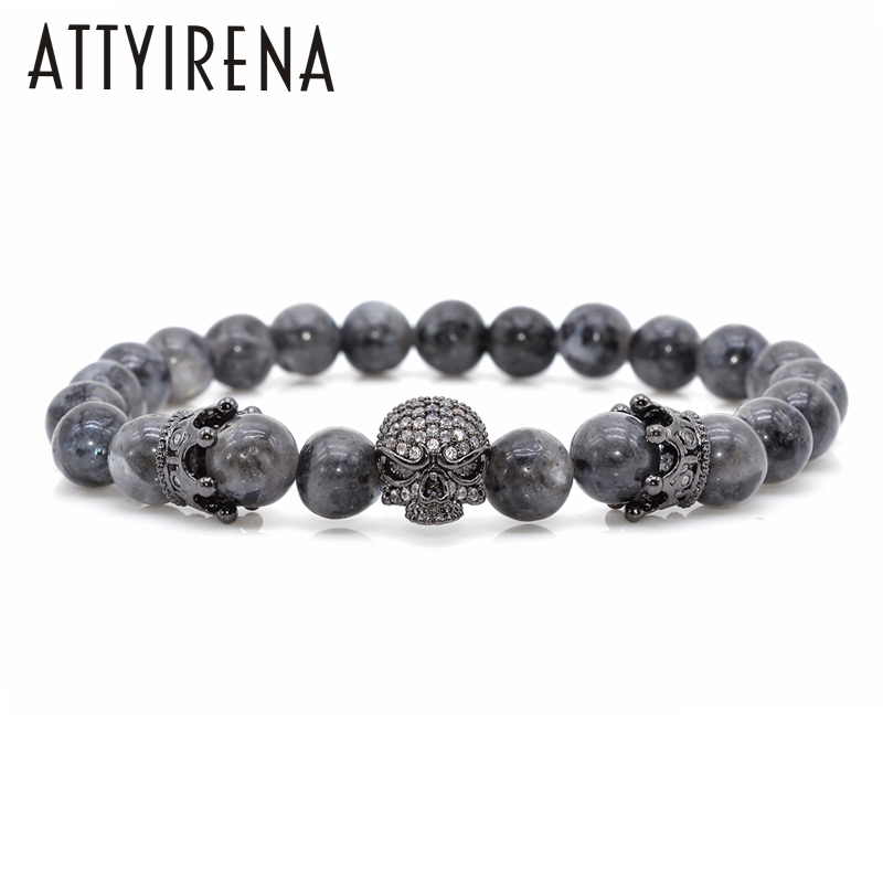 Men CZ Skull Charm Bracelets India Labradorite 8mm Natural Stone Light Beads European Buddha Bracelet For Men Handmade Bracelets new design stone bracelet men women popular stone bracelet skull micro pave cz beads skull male bracelet crown zircon bracelets