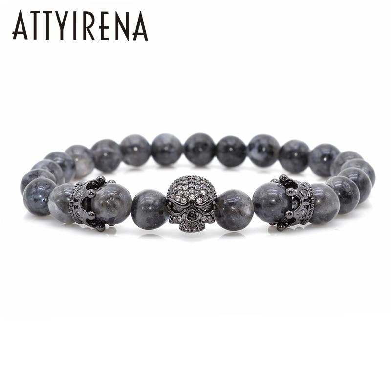 Men CZ Skull Charm Bracelets India Labradorite 8mm Natural Stone Light Beads European Buddha Bracelet For Men Handmade Bracelets