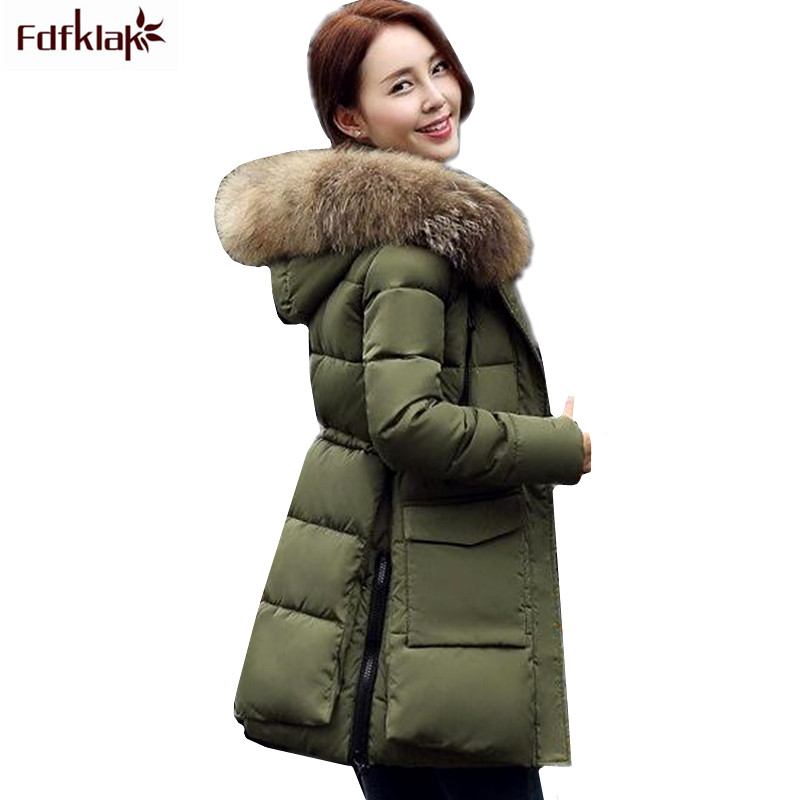 deccbe080b3 High Quality 2017 Winter Jacket Women Fur Collar Hooded Thick Warm Coat For  Women Winter Parka