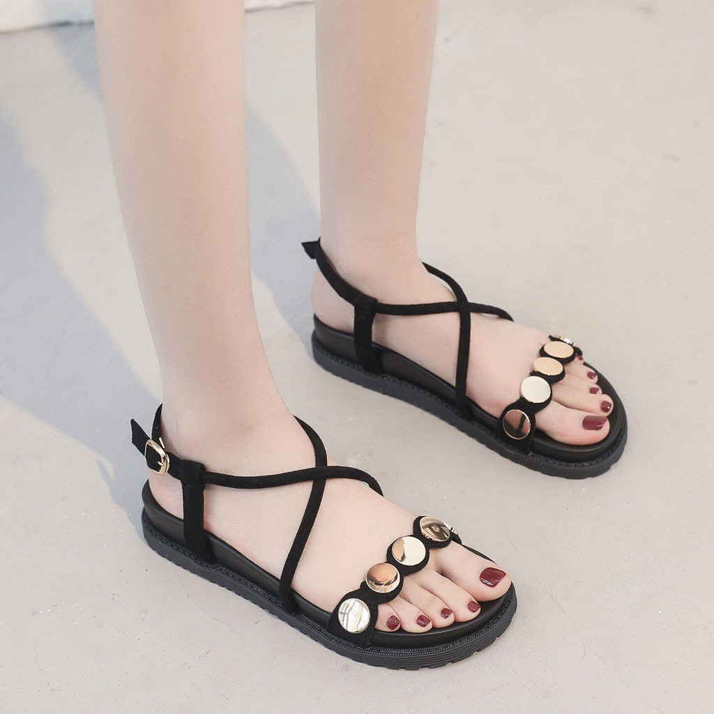 SAGACE Summer Women's Sandals Flock Casual Shoes Sequins Buckle Female Roman Style Solid Colors Shoes Zapatos de mujer Jul10(China)