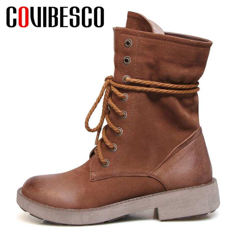 COVIBESCO 2019 Solid Lace-up Genuine Leather Women Ankle Boots Fashion Elegant Spring Autumn Round Toe Casual Basic Shoes WomanCOVIBESCO 2019 Solid Lace-up Genuine Leather Women Ankle Boots Fashion Elegant Spring Autumn Round Toe Casual Basic Shoes Woman
