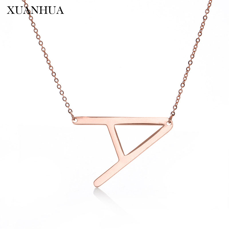 XUANHUA Rose Gold Charm Letter Necklace Stainless Steel Jewelry Woman Vogue 2019 Jewelry Accessories Gifts For Women Chain