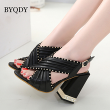 BYQDY Trendy Rivet Women Sandals Clear Heel Crystal Buckle Strap Pumps Sandals Rome Women Apricot Black Open Toe Female Size 40 trendy suede and buckle strap design sandals for women