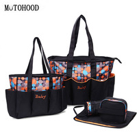 MOTOHOOD 5pcs Large Baby Diaper Bag Set For Mom Mother Women Tote Bag Maternity Changing Nappy Bags Organizer Baby Care
