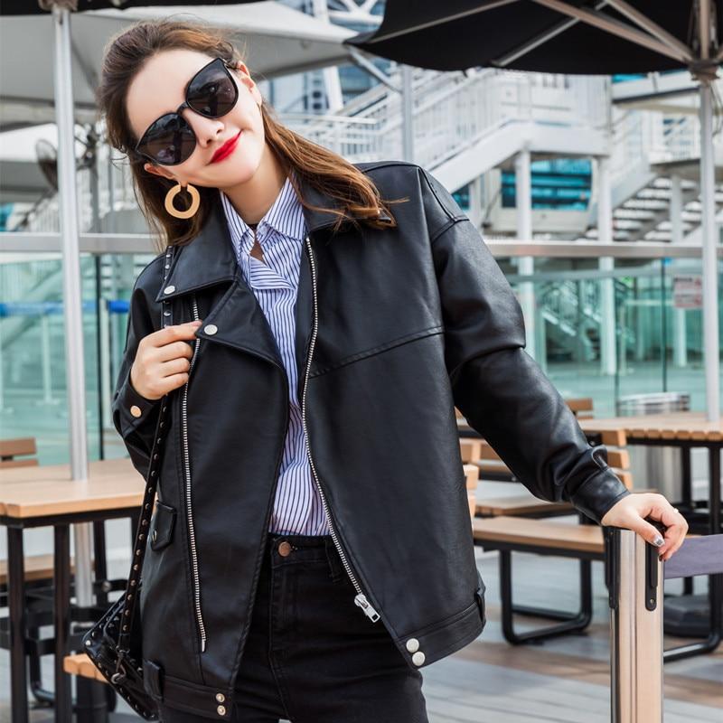 Female   Leather   Jacket Women Loose   Leather   Coat 2018 Autumn New Woman Moto& Biker Solid Turn Collar Plus Size Jackets 2XL 3XL 4XL