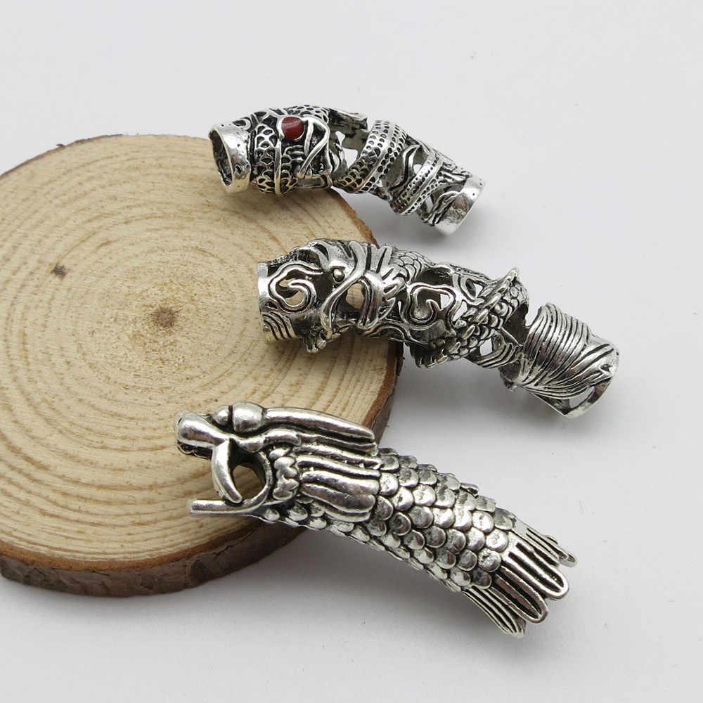 3 шт/лот тибетский серебряный дракон коса для волос Dread дредлок бусины-трубки кольцо для Эластичные аксессуары для волос