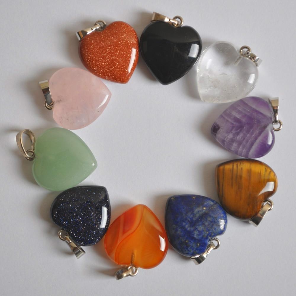 Natural Aventurine/Crystal/Carnelian/Sandstone/Tigereye Stone Heart GEM Pendant Lucky Jewelry 1PCS S3023-S3033