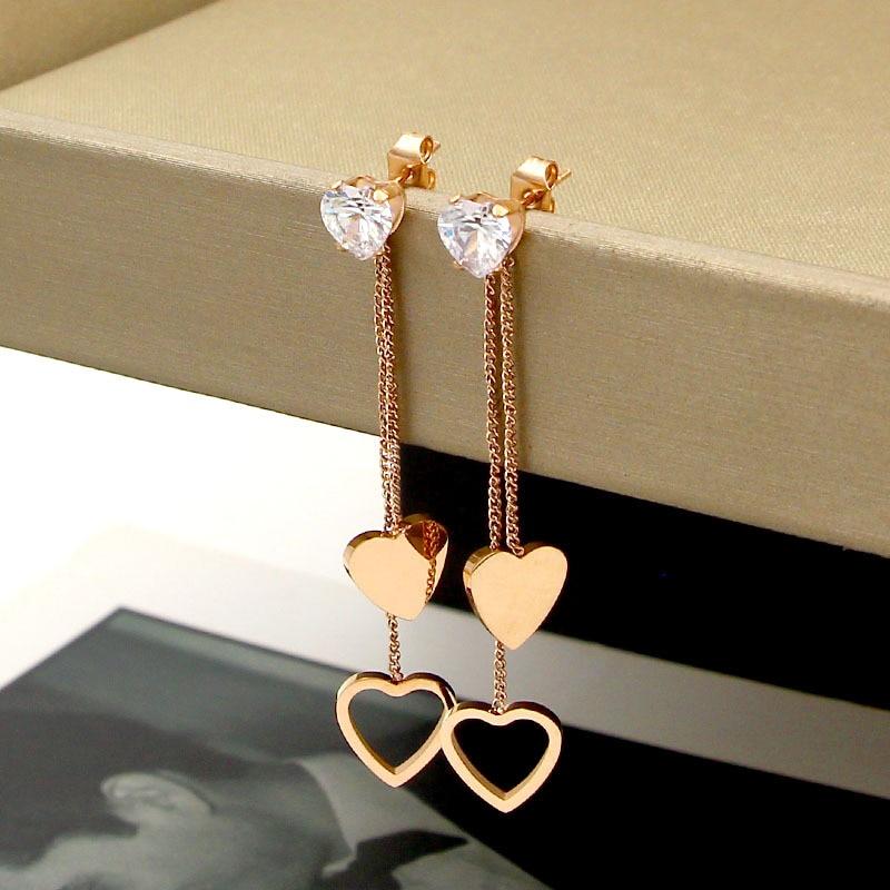 New fashion crystal peach heart tassel long double earrings helix titanium steel rose gold heart-shaped earrings jewelry wholesa