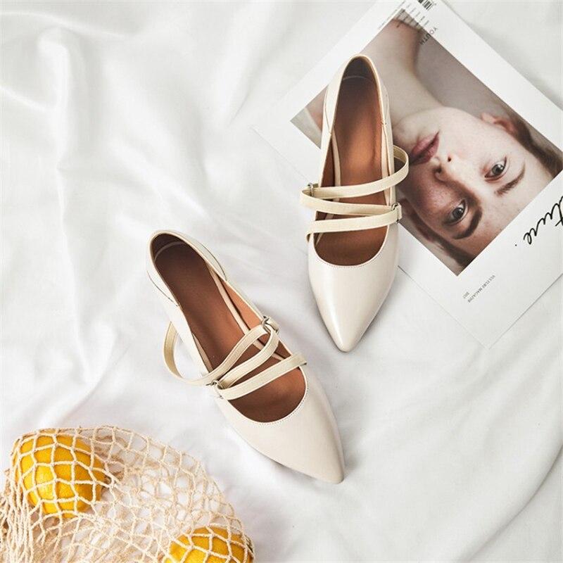 Chaussures Mode marron En Carré Femmes Msstor Cuir Élégante Lolita attaché Rétro noir Véritable Dames Bout Talons Pointu Beige Croix WFInxnv